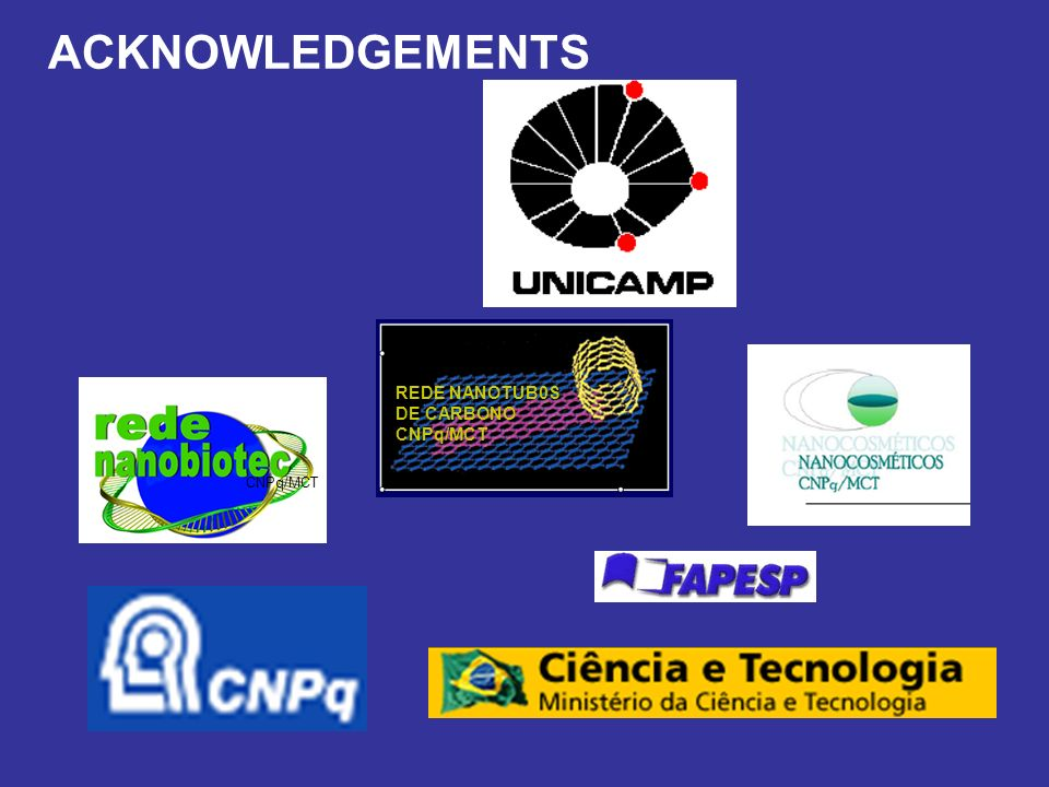 ACKNOWLEDGEMENTS REDE NANOTUB0S DE CARBONO CNPq/MCT CNPq/MCT