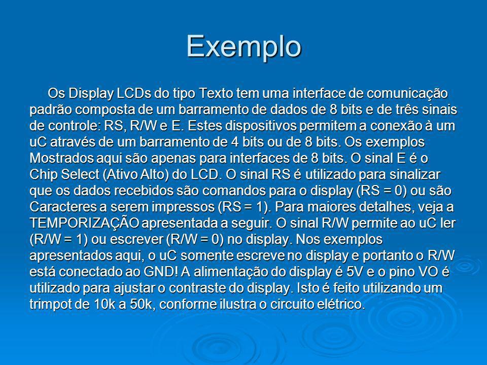 Exemplo Os Display LCDs do tipo Texto tem uma interface de comunicação