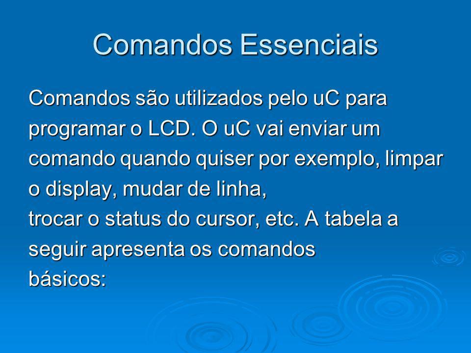 Comandos Essenciais Comandos são utilizados pelo uC para