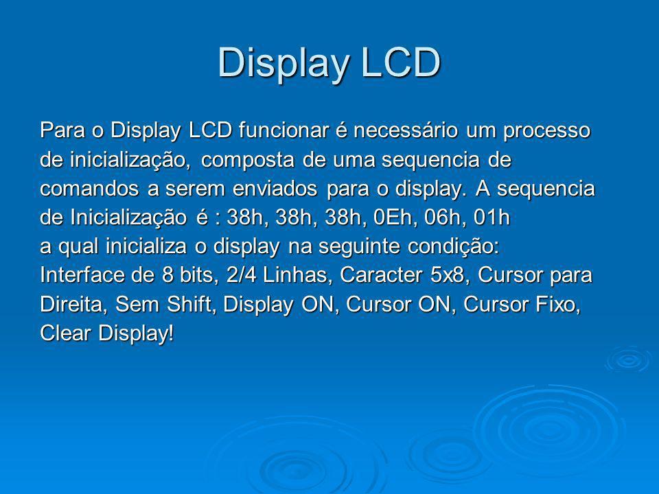 Display LCD Para o Display LCD funcionar é necessário um processo