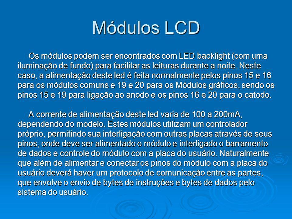 Módulos LCD Os módulos podem ser encontrados com LED backlight (com uma. iluminação de fundo) para facilitar as leituras durante a noite. Neste.