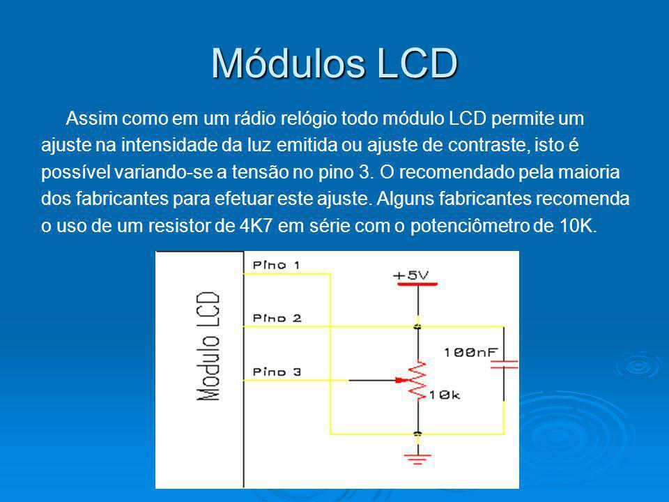 Módulos LCD Assim como em um rádio relógio todo módulo LCD permite um