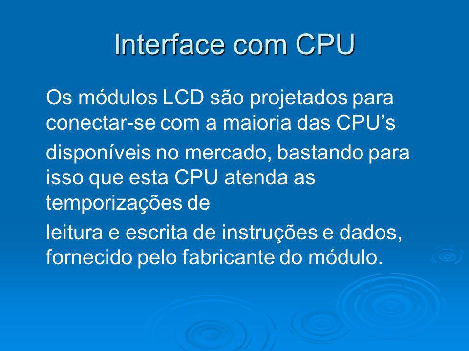 Interface com CPU Os módulos LCD são projetados para conectar-se com a maioria das CPU's.