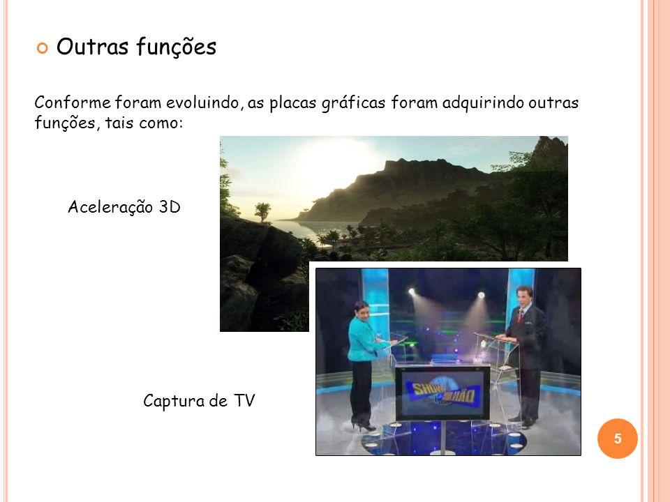 Outras funções Conforme foram evoluindo, as placas gráficas foram adquirindo outras funções, tais como: