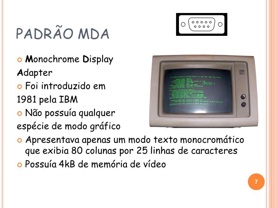 PADRÃO MDA Monochrome Display Adapter Foi introduzido em 1981 pela IBM