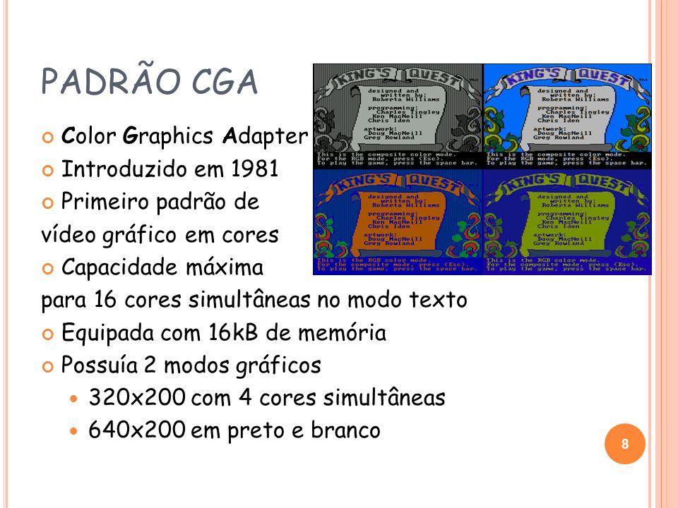 PADRÃO CGA Color Graphics Adapter Introduzido em 1981