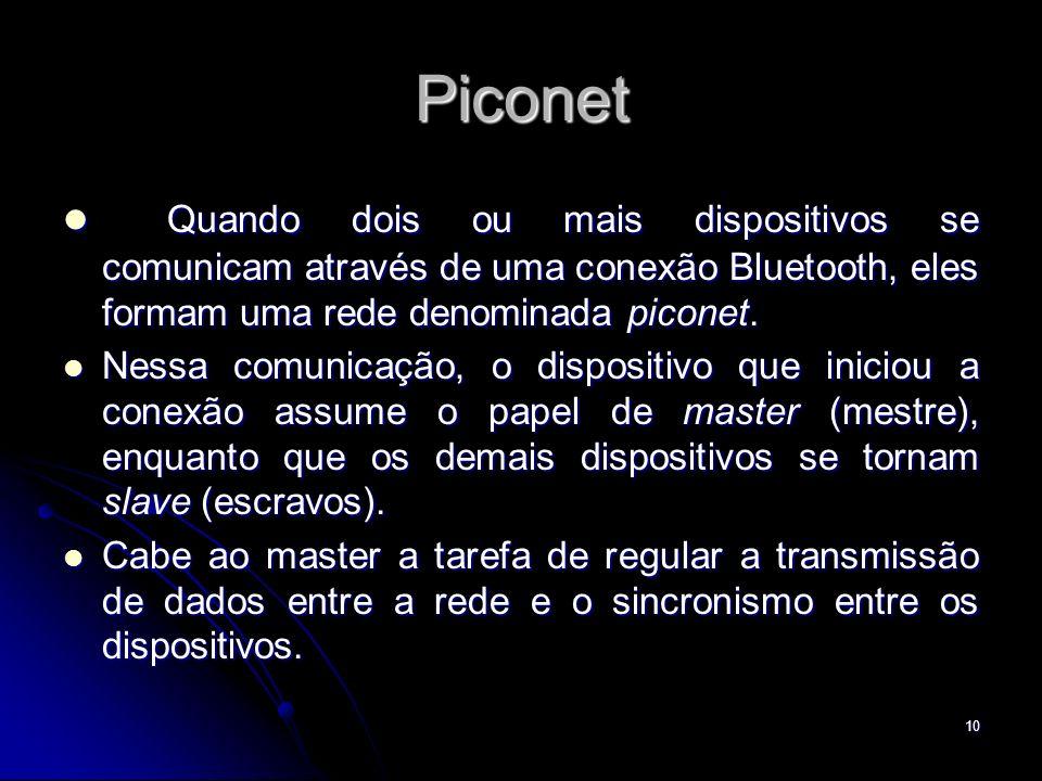 Piconet Quando dois ou mais dispositivos se comunicam através de uma conexão Bluetooth, eles formam uma rede denominada piconet.
