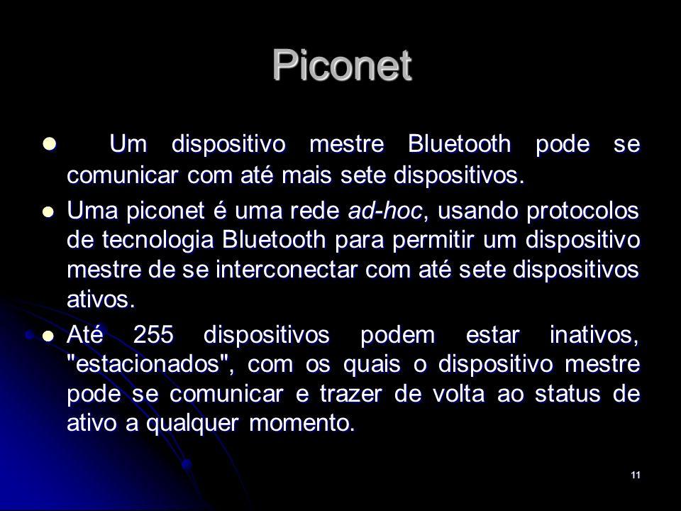 Piconet Um dispositivo mestre Bluetooth pode se comunicar com até mais sete dispositivos.
