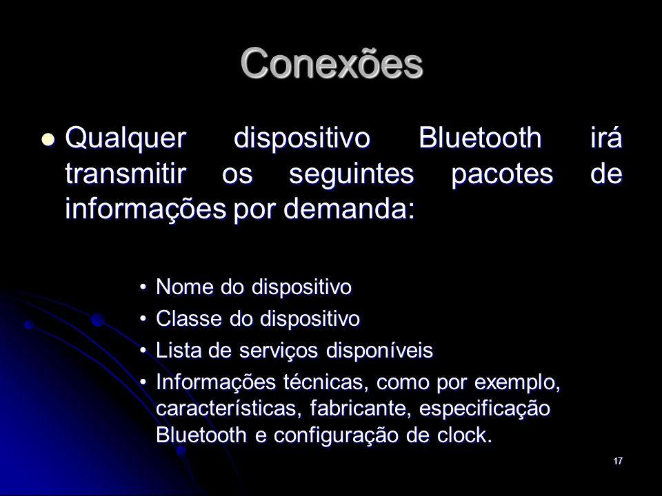 Conexões Qualquer dispositivo Bluetooth irá transmitir os seguintes pacotes de informações por demanda: