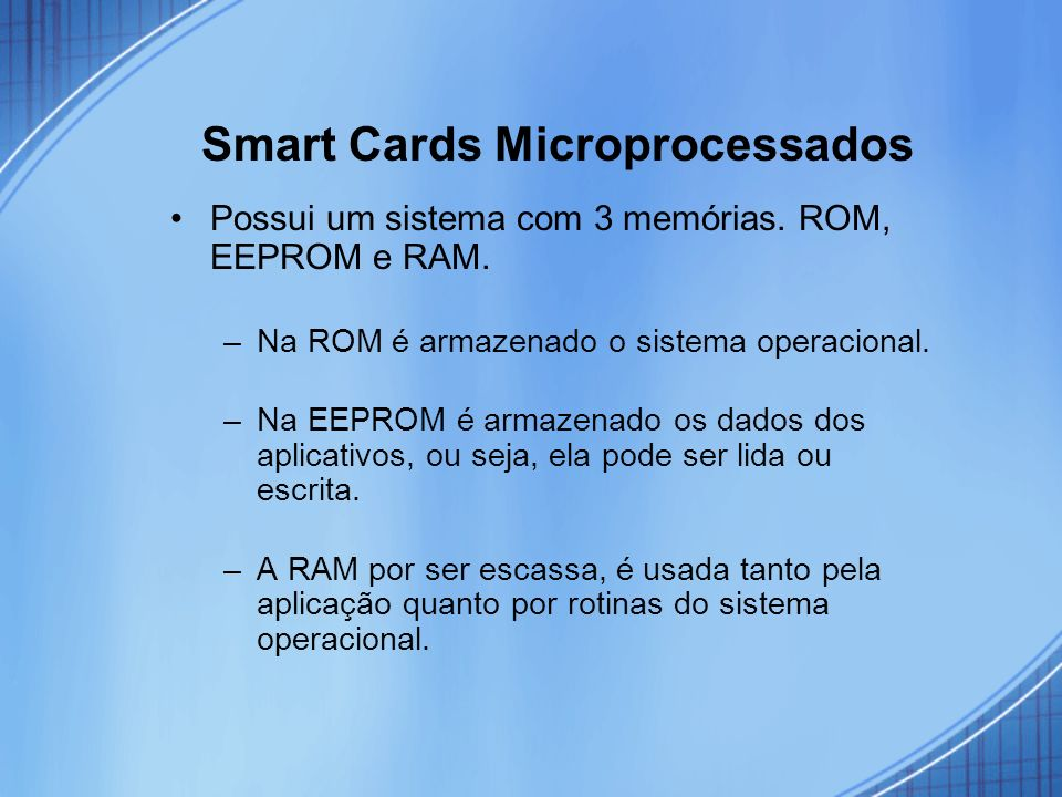 Smart Cards Microprocessados