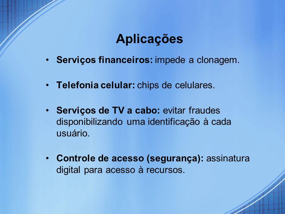 Aplicações Serviços financeiros: impede a clonagem.