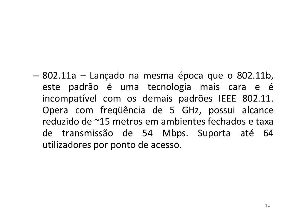 802. 11a – Lançado na mesma época que o 802