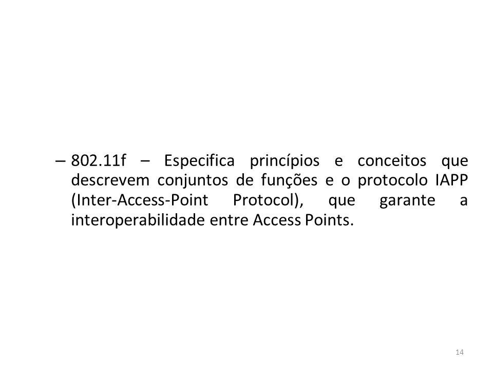 802.11f – Especifica princípios e conceitos que descrevem conjuntos de funções e o protocolo IAPP (Inter-Access-Point Protocol), que garante a interoperabilidade entre Access Points.