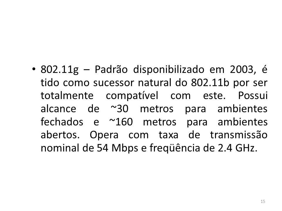 802.11g – Padrão disponibilizado em 2003, é tido como sucessor natural do 802.11b por ser totalmente compatível com este.