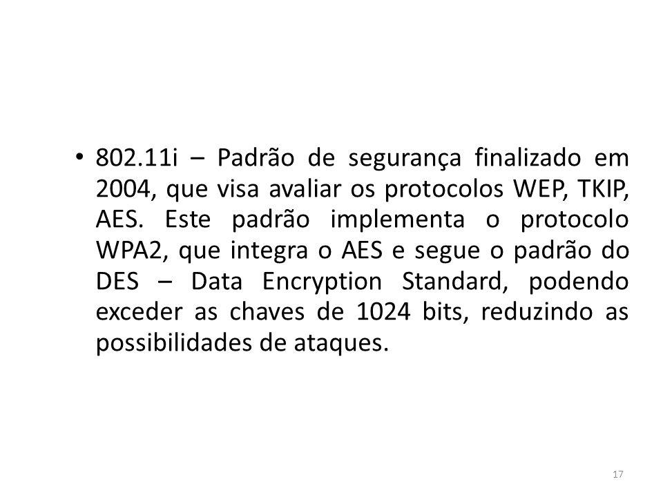 802.11i – Padrão de segurança finalizado em 2004, que visa avaliar os protocolos WEP, TKIP, AES.