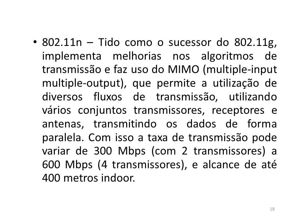 802. 11n – Tido como o sucessor do 802