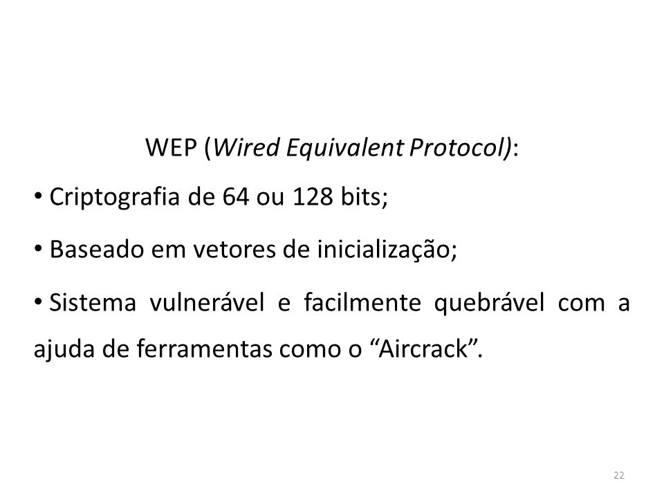 WEP (Wired Equivalent Protocol):
