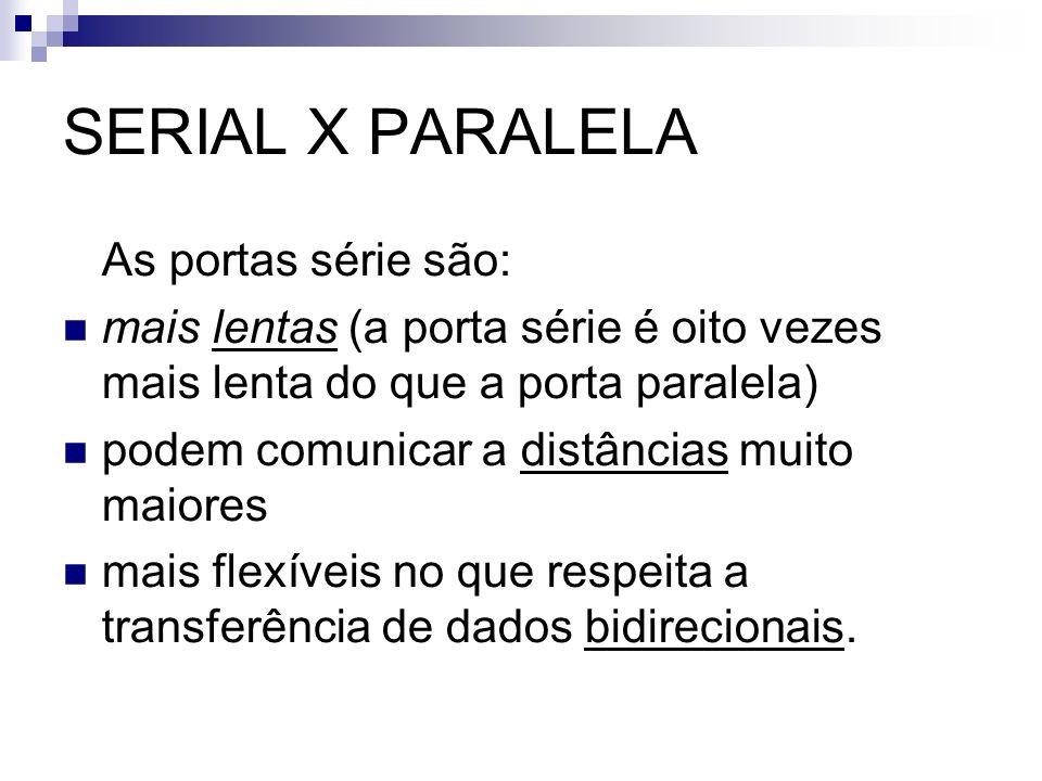 SERIAL X PARALELA As portas série são: