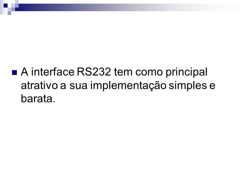 A interface RS232 tem como principal atrativo a sua implementação simples e barata.