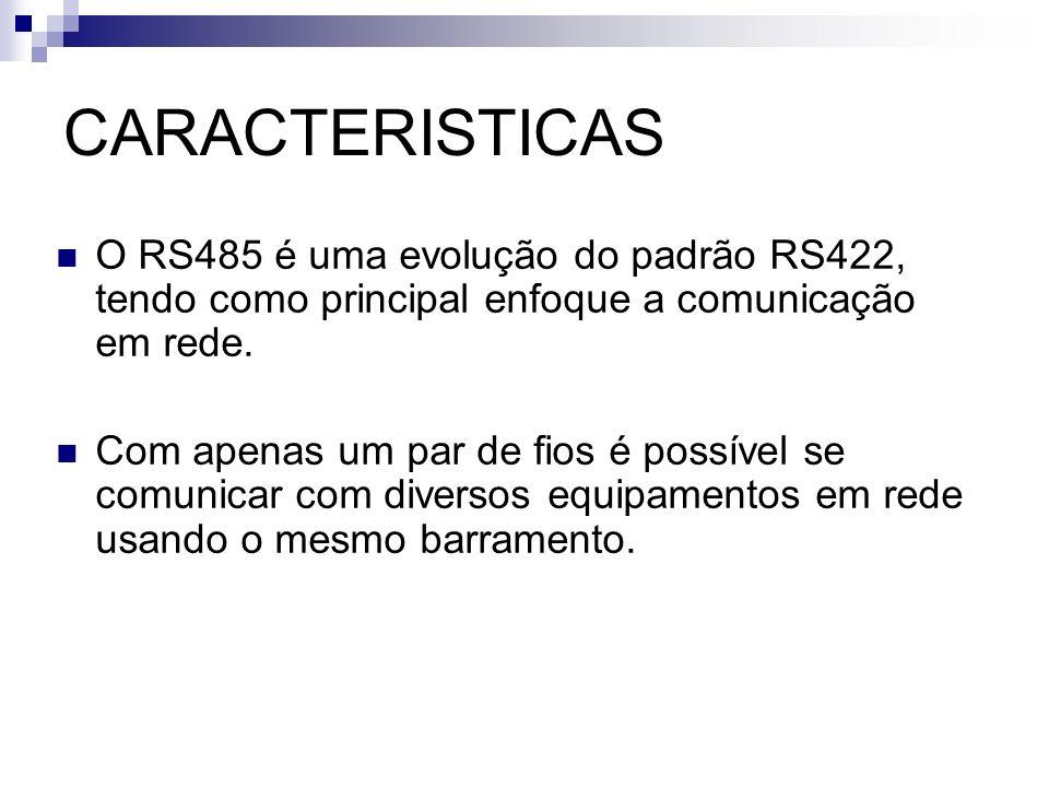 CARACTERISTICASO RS485 é uma evolução do padrão RS422, tendo como principal enfoque a comunicação em rede.