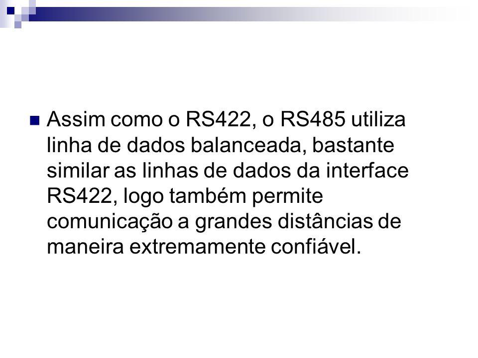 Assim como o RS422, o RS485 utiliza linha de dados balanceada, bastante similar as linhas de dados da interface RS422, logo também permite comunicação a grandes distâncias de maneira extremamente confiável.