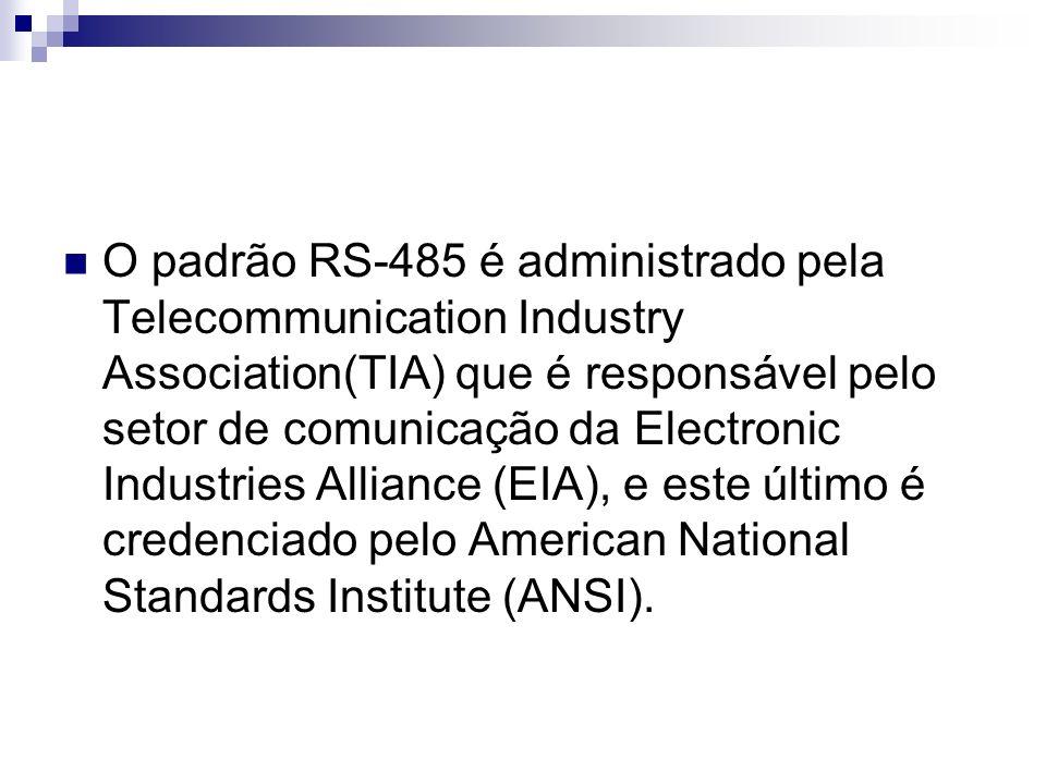 O padrão RS-485 é administrado pela Telecommunication Industry Association(TIA) que é responsável pelo setor de comunicação da Electronic Industries Alliance (EIA), e este último é credenciado pelo American National Standards Institute (ANSI).