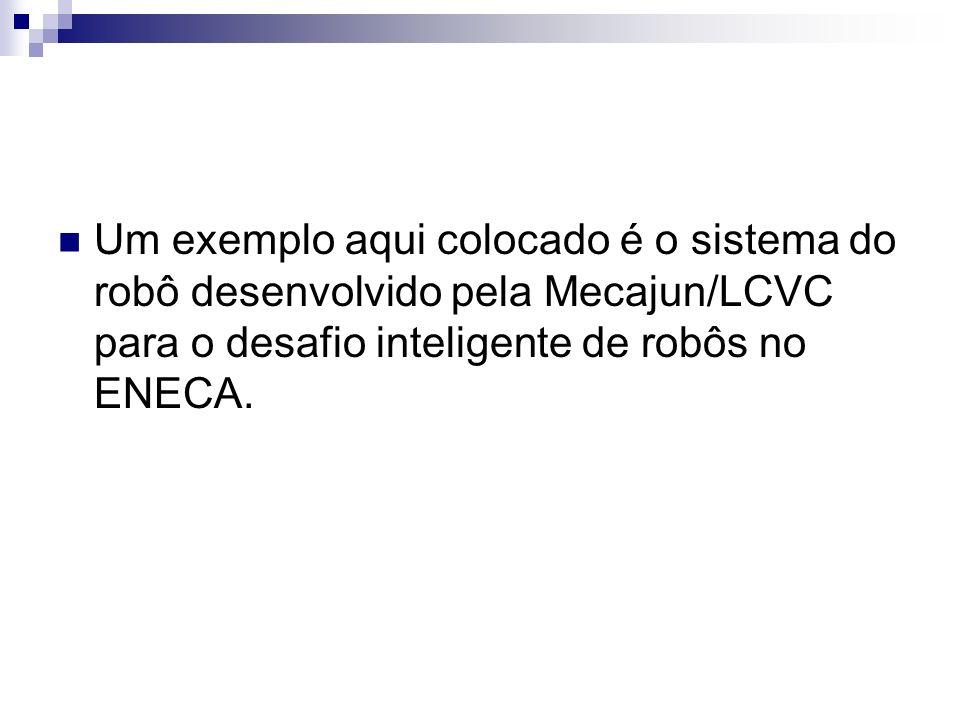 Um exemplo aqui colocado é o sistema do robô desenvolvido pela Mecajun/LCVC para o desafio inteligente de robôs no ENECA.
