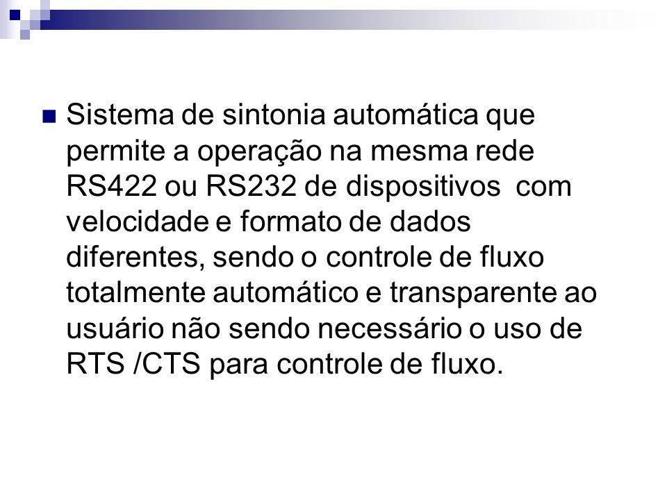 Sistema de sintonia automática que permite a operação na mesma rede RS422 ou RS232 de dispositivos com velocidade e formato de dados diferentes, sendo o controle de fluxo totalmente automático e transparente ao usuário não sendo necessário o uso de RTS /CTS para controle de fluxo.