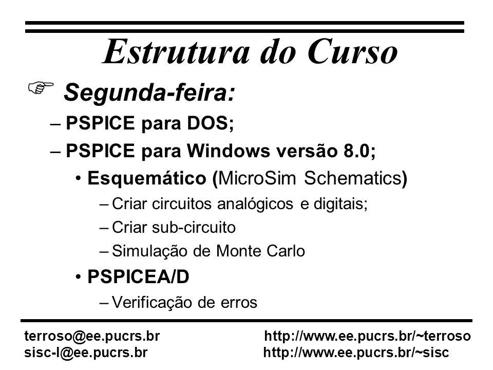 Estrutura do Curso Segunda-feira: PSPICE para DOS;