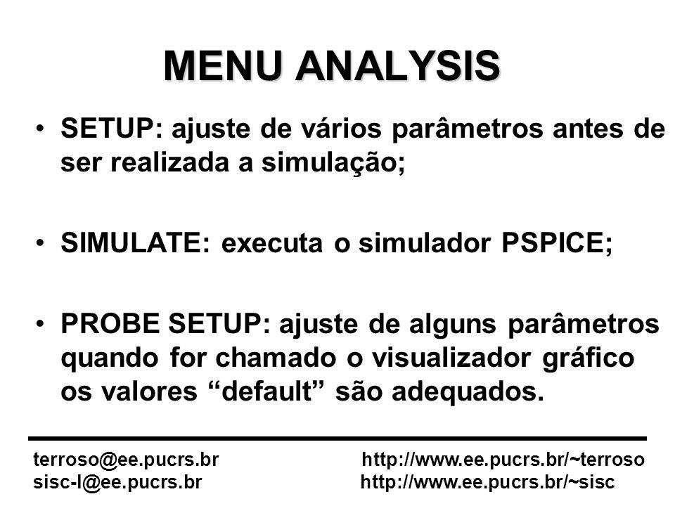 MENU ANALYSIS SETUP: ajuste de vários parâmetros antes de ser realizada a simulação; SIMULATE: executa o simulador PSPICE;