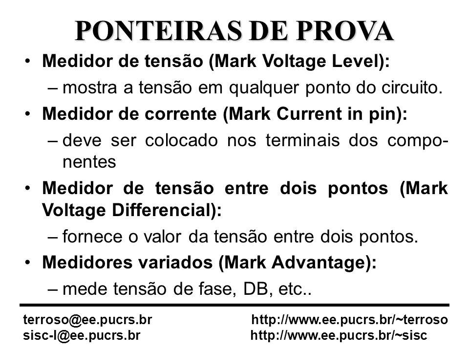 PONTEIRAS DE PROVA Medidor de tensão (Mark Voltage Level):