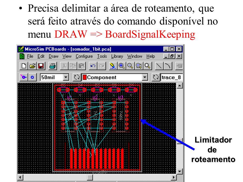 Precisa delimitar a área de roteamento, que será feito através do comando disponível no menu DRAW => BoardSignalKeeping
