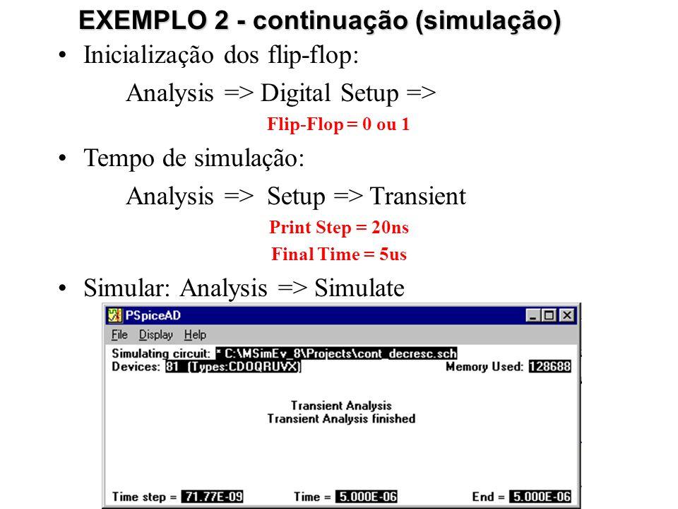 EXEMPLO 2 - continuação (simulação)