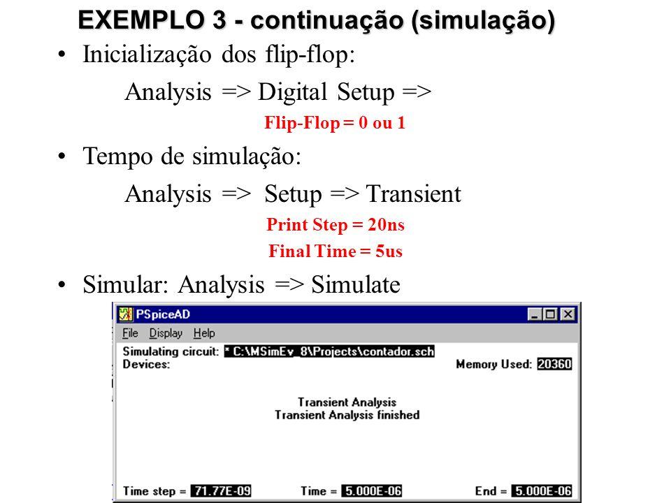 EXEMPLO 3 - continuação (simulação)