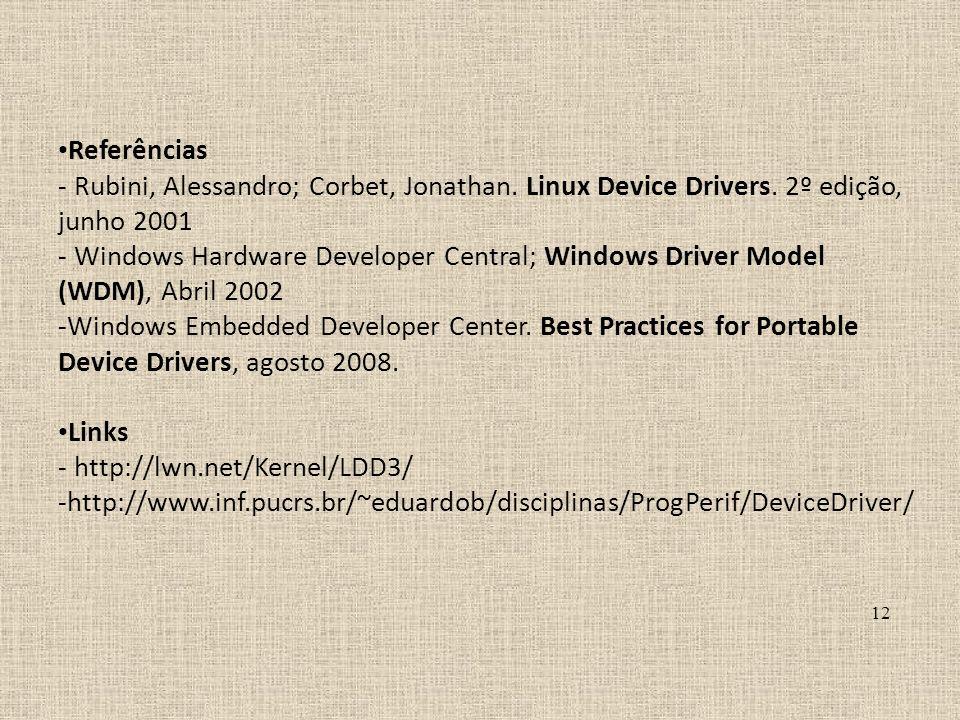 Referências- Rubini, Alessandro; Corbet, Jonathan. Linux Device Drivers. 2º edição, junho 2001.