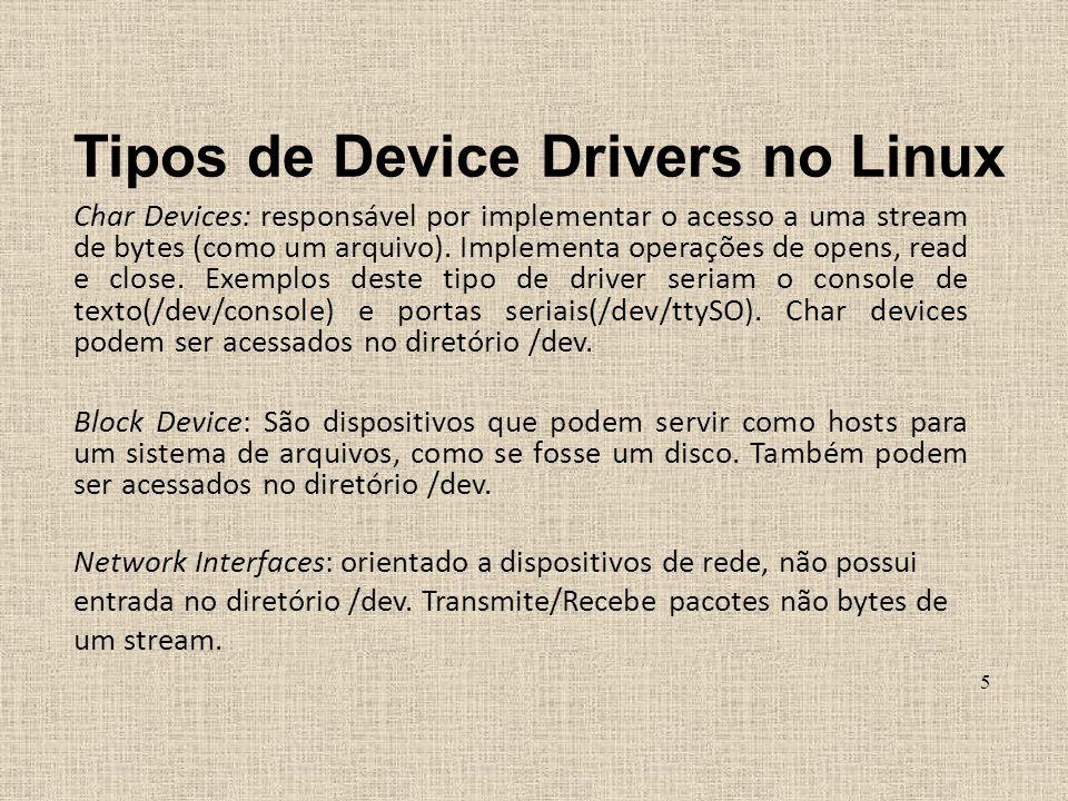 Tipos de Device Drivers no Linux