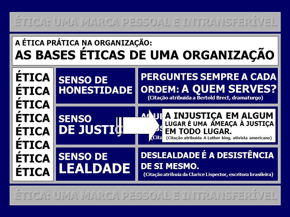 LEALDADE AS BASES ÉTICAS DE UMA ORGANIZAÇÃO DE JUSTIÇA ÉTICA