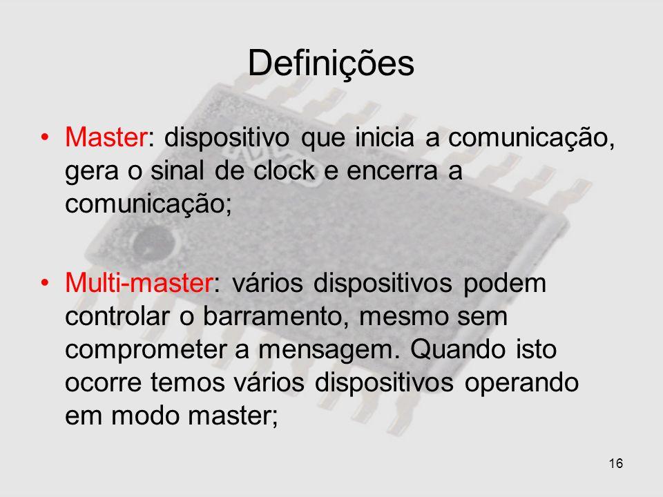 DefiniçõesMaster: dispositivo que inicia a comunicação, gera o sinal de clock e encerra a comunicação;