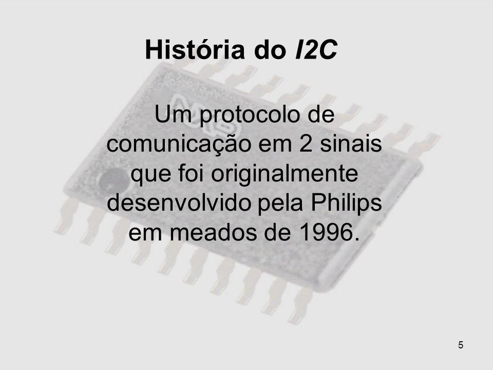 História do I2CUm protocolo de comunicação em 2 sinais que foi originalmente desenvolvido pela Philips em meados de 1996.