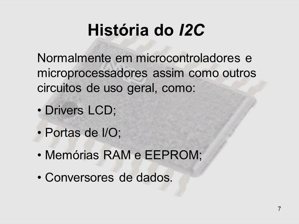 História do I2CNormalmente em microcontroladores e microprocessadores assim como outros circuitos de uso geral, como: