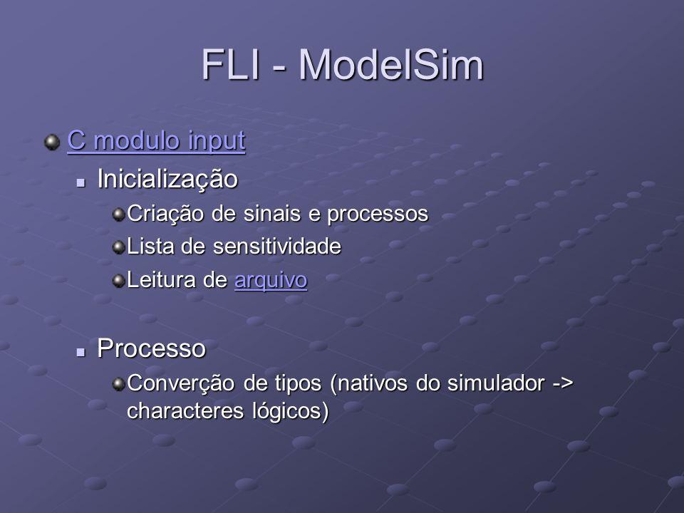 FLI - ModelSim C modulo input Inicialização Processo