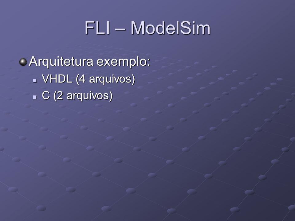 FLI – ModelSim Arquitetura exemplo: VHDL (4 arquivos) C (2 arquivos)