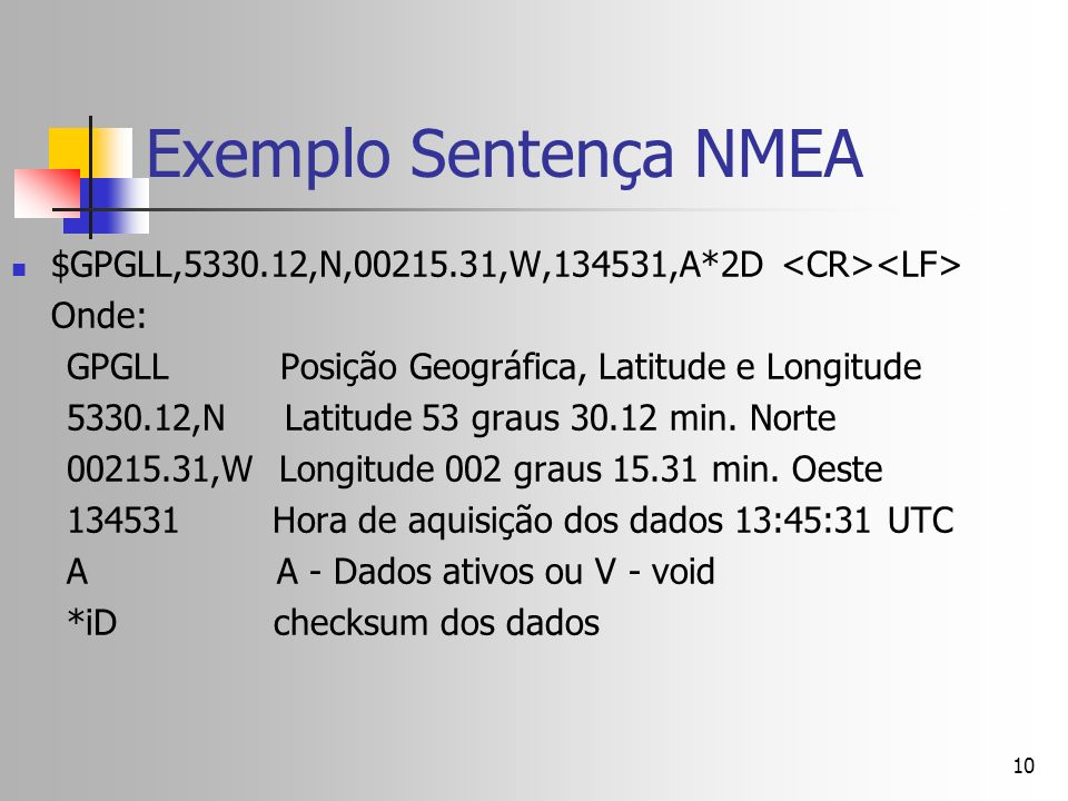Exemplo Sentença NMEA $GPGLL,5330.12,N,00215.31,W,134531,A*2D <CR><LF> Onde: GPGLL Posição Geográfica, Latitude e Longitude.