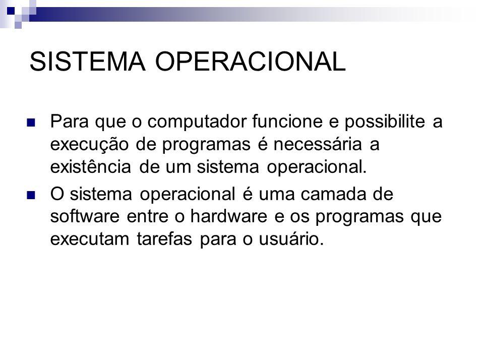 SISTEMA OPERACIONAL Para que o computador funcione e possibilite a execução de programas é necessária a existência de um sistema operacional.