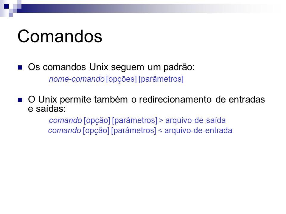 Comandos Os comandos Unix seguem um padrão: