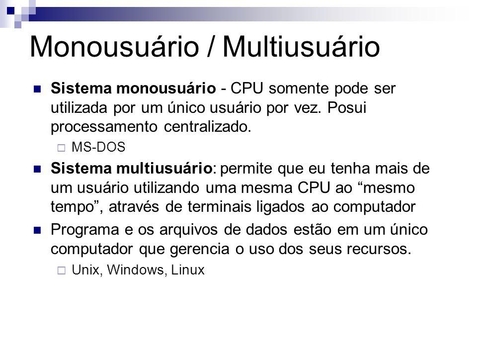 Monousuário / Multiusuário