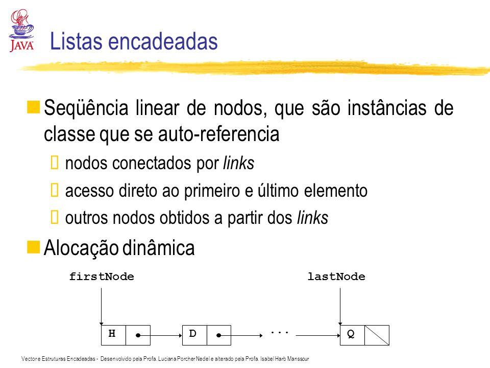 Listas encadeadas Seqüência linear de nodos, que são instâncias de classe que se auto-referencia. nodos conectados por links.