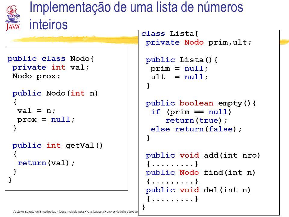 Implementação de uma lista de números inteiros