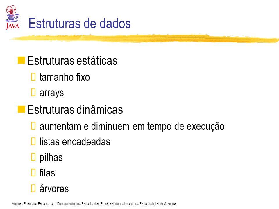 Estruturas de dados Estruturas estáticas Estruturas dinâmicas