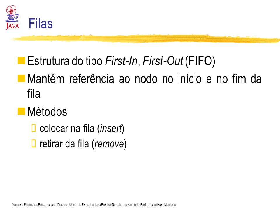 Filas Estrutura do tipo First-In, First-Out (FIFO)